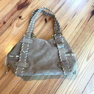 Kooba Suede Woven Handle Leather Shoulder Tote Bag